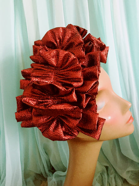 Ruby Red Metallic Lame Ruffle Party Headband *NEW YEAR DELIVERY*