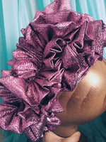 Lilac Pink Metallic Lame Ruffle Party Headband