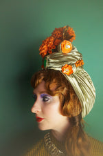 Mint Green and orange Metallic Vintage Flower Pleated Turban Hat