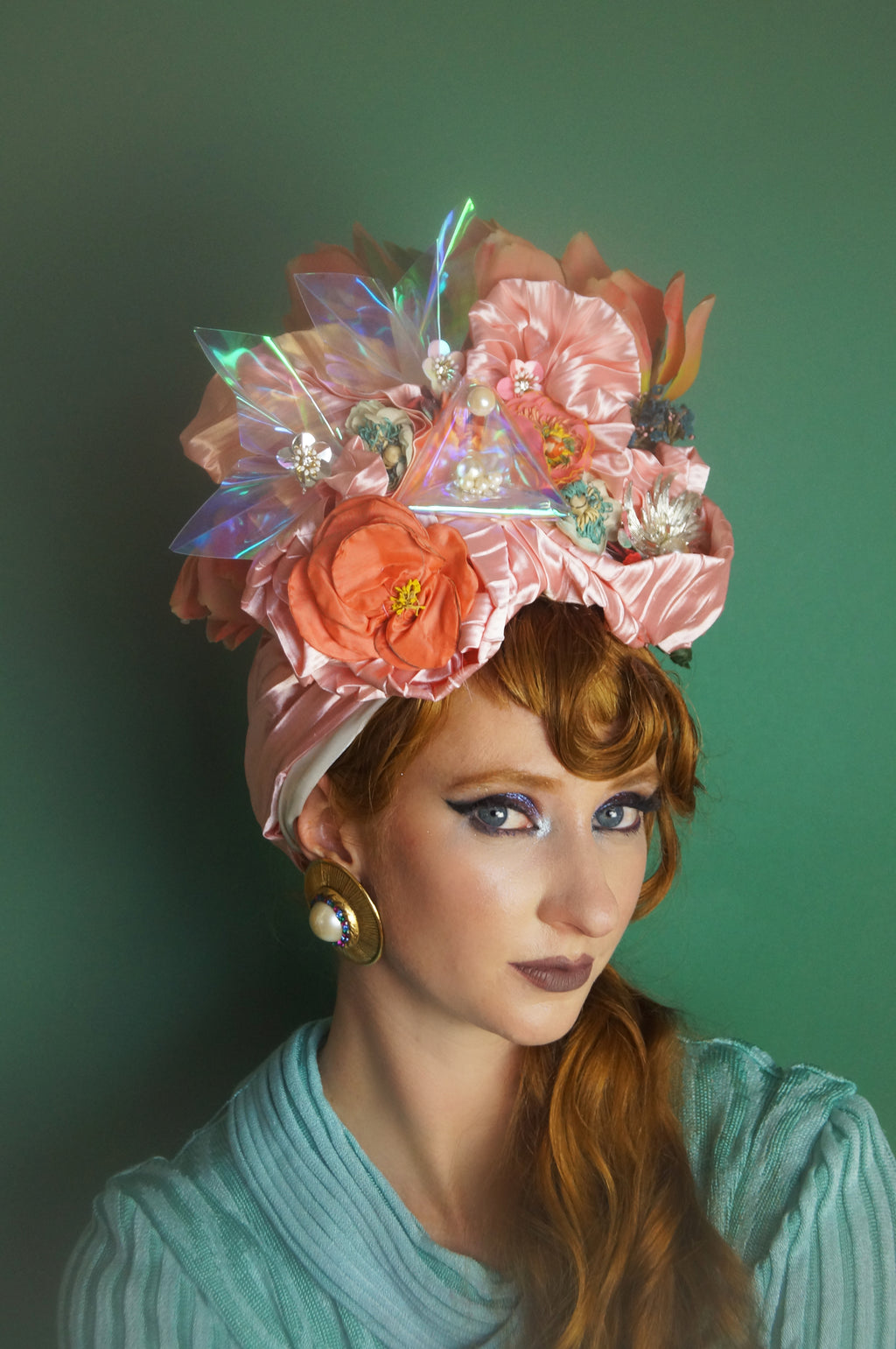 Pink Iridescent Metallic Vintage Flower Pleated Turban Hat