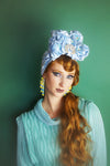 Blue Metallic Vintage Pleated Turban Hat with Sequin Flowers