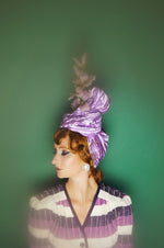 Lilac purple satin Vintage Flower Pleated Turban Hat