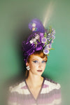 Purple Vintage Feather Flower Turban /Hat