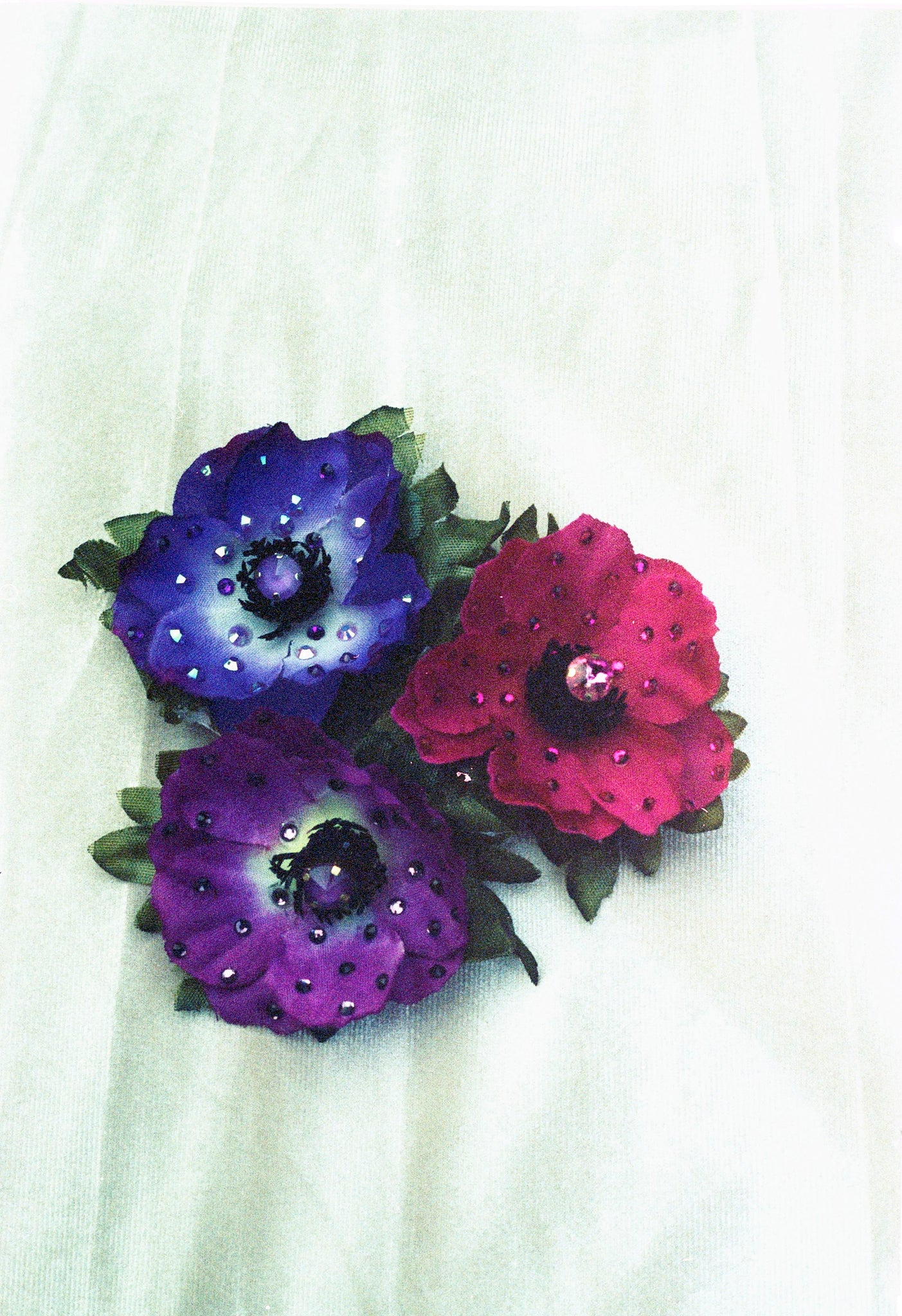3 Silk Anemones Brooches in Posy Purple and Plum