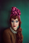 Pink Metallic Vintage Pleated Turban Hat