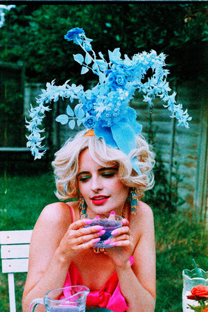 Blue Plastic flower Headpiece / Fascinator