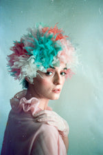 Multicoloured Vintage inspired ruffle Pastel Headpiece
