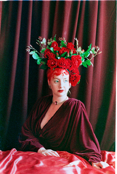 'Roses are Red' Velvet Rose headdress