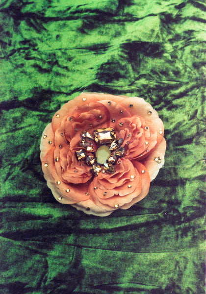 Artificial Cabbage Rose Brooch in Peachy Orange