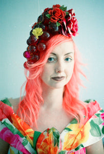 Red Berries Rich Flowers headdress / Vintage / unique