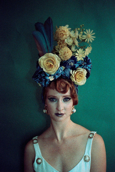 Blue and Yellow Vintage pleated Flower hat Turban with feathers