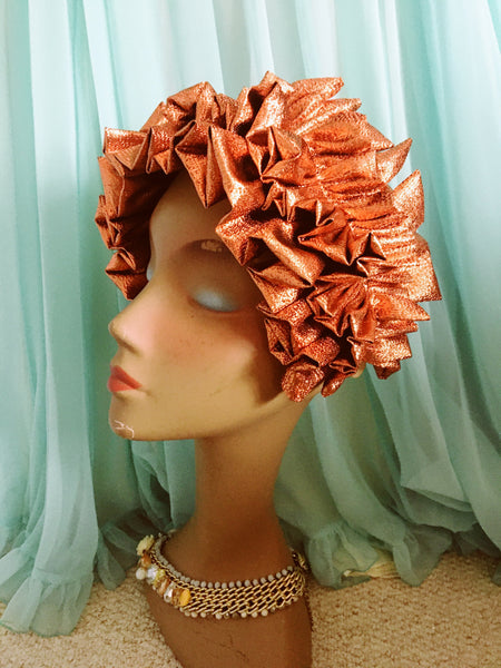 Orange Copper Metallic Lame Ruffle Party Headband *NEW YEAR DELIVERY*