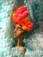 Mega Orange-Red and mustard-pink pom pom headband
