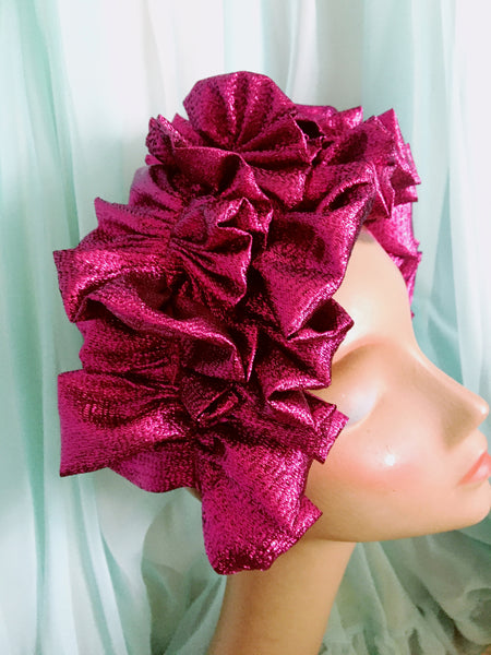 Magenta Metallic Lame Ruffle Party Headband *NEW YEAR DELIVERY*