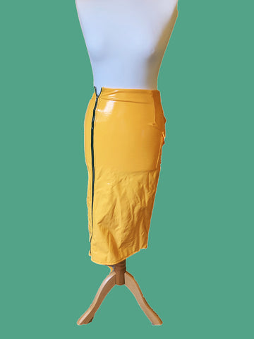 yellow high shine Zip pvc skirt