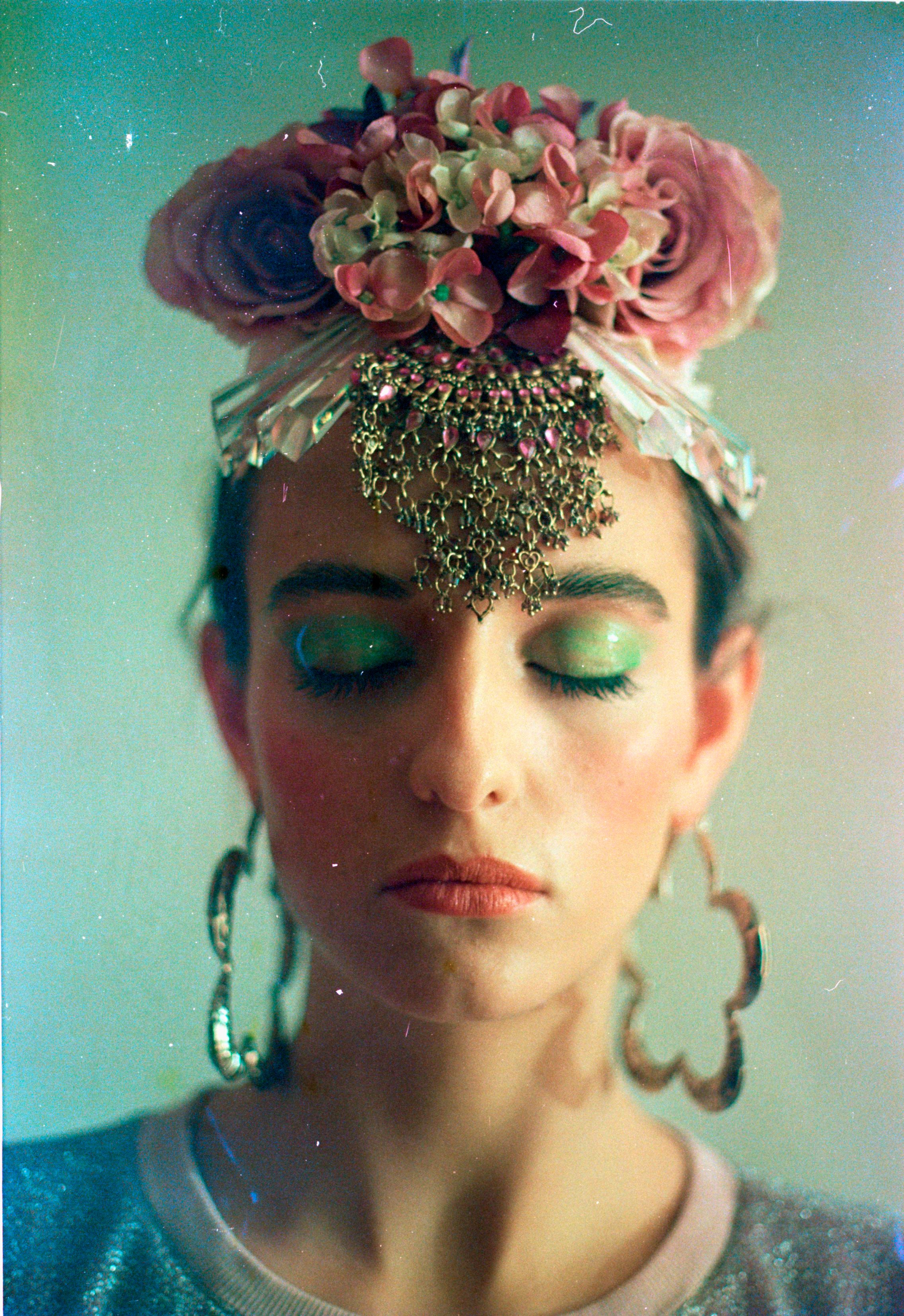 Floral Frida bejewelled purple headpiece