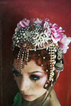 Pearl and Diamonte chain jewel Flower Headdress