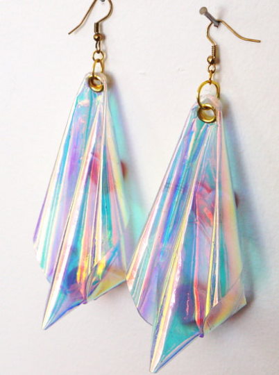 Plastic Iridescent rainbow earrings