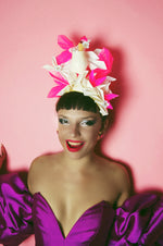 Neon Pink Glitter and White Cocktail Crown