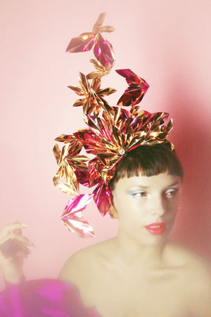Metallic Pink gold Holographic Origami Crown