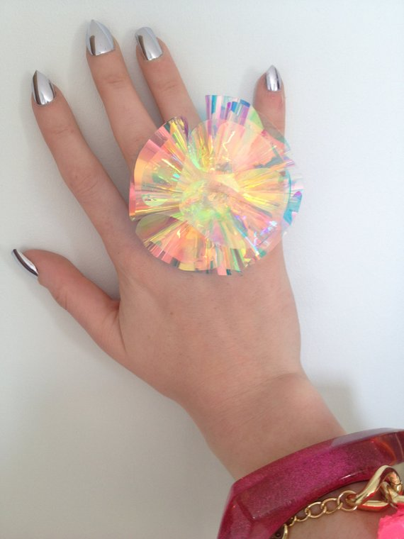 Cosmic iridescent rainbow Ring