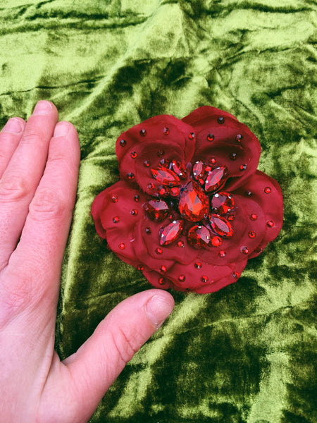 Bejewelled Brooch in Red