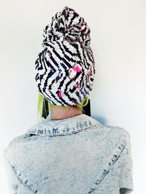 *LIMITED EDITION* Zerba Neon Pink Print Sequin Turban
