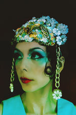 Bespoke Iridescent vintage jewels headpiece