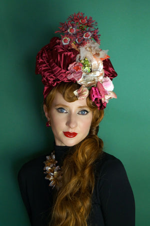 Floral Vintage Hat / Turban - Red, Pink, Pleated,