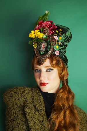 Floral Vintage Hat / Turban -Feather, millinery, Green, Pink Yellow