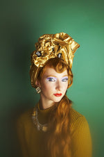 Gold Metallic Vintage Pleated Turban Hat with Black Sequin Flowers
