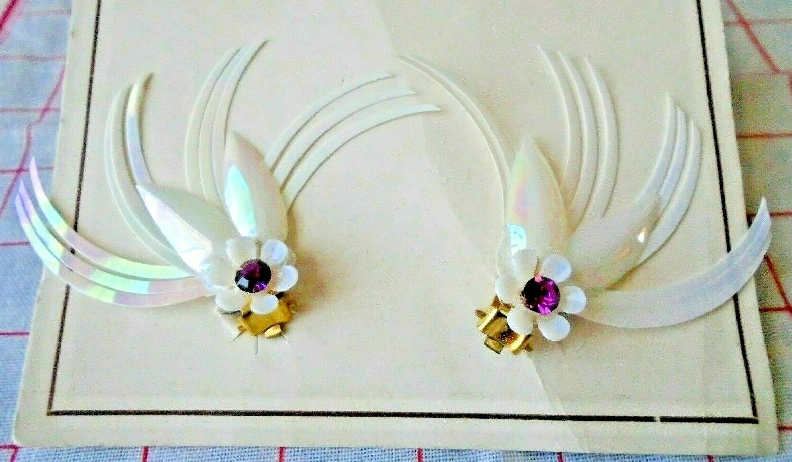 Deadstock 50s Vintage Plastic White Iridescent Rhinestone Clip on Earrings