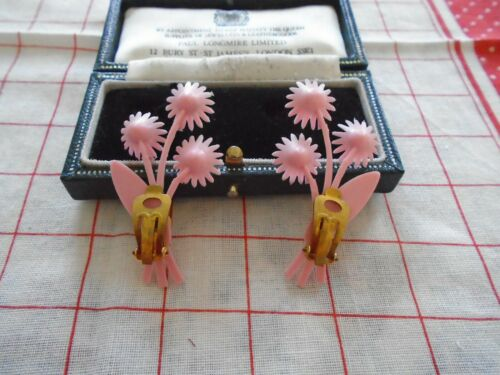 Deadstock 50s Vintage Plastic Pink Feather Rhinestone Clip on Earrings