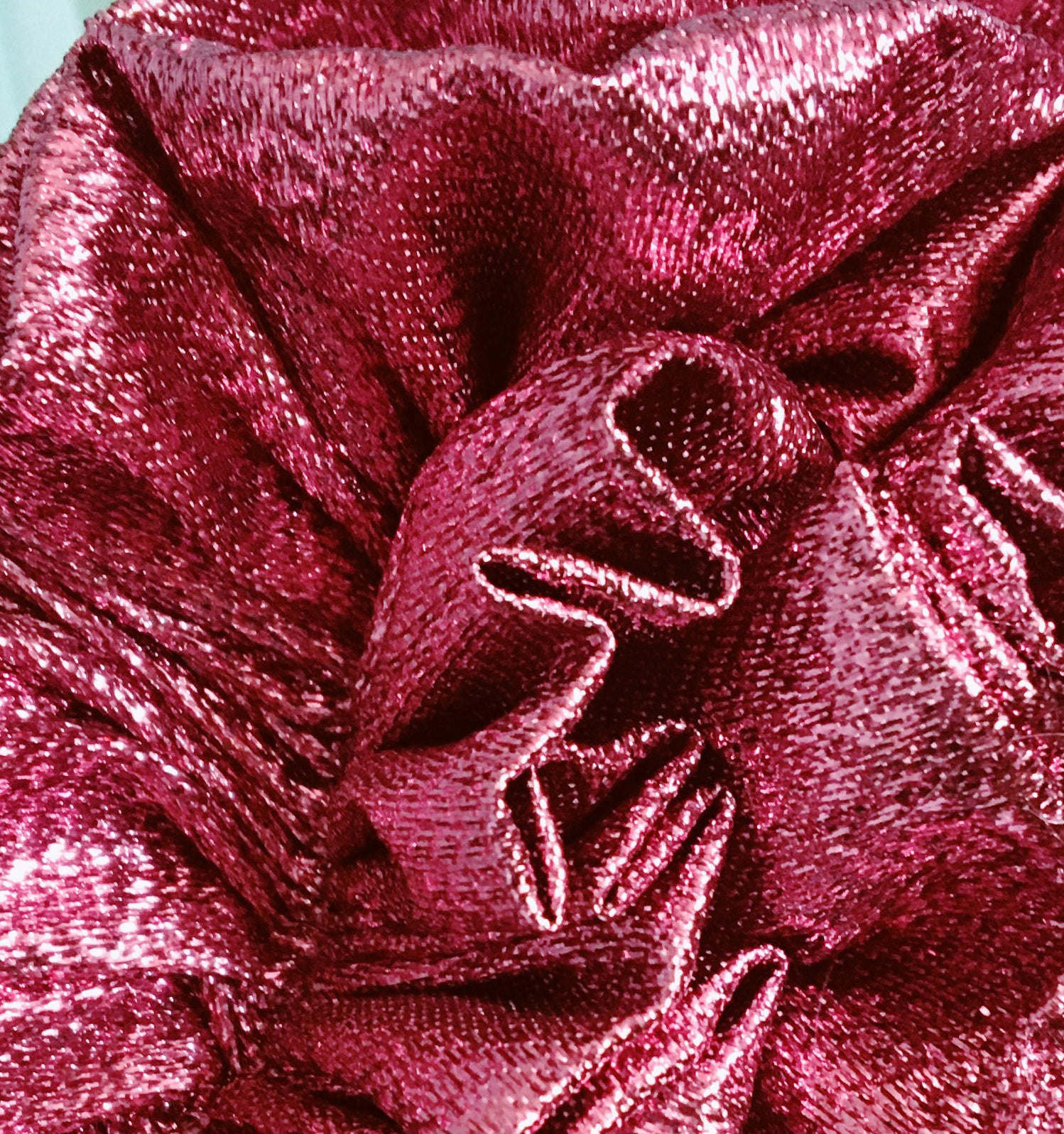 Ruby Red Metallic Lame Ruffle Party Headband