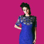 Sequin Royal Blue Red and Gold Dress