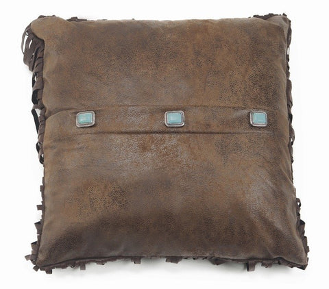 Rustic Leather Pillow with Turquoise Conchos