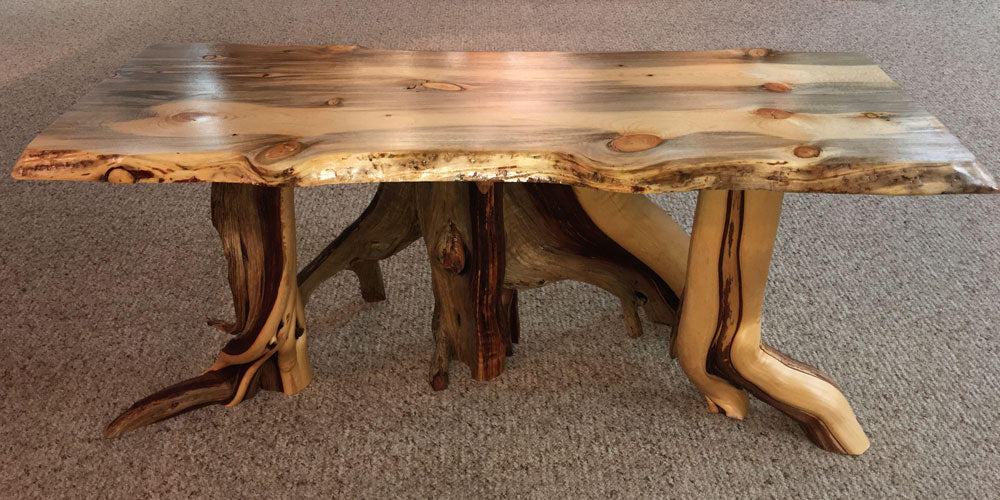 Blue Stain Pine Coffee Table on Juniper Legs by CrookedWood