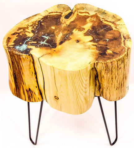 Stump Table with Turquoise Inlay by CrookedWood