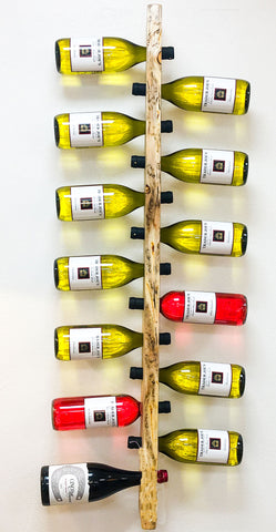 13 Bottle Beetle Kill LodgePole Pine, Wall Mounted Wine Rack by CrookedWood