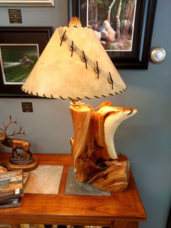 Rustic Juniper Table Lamp on Juniper Base No. 046
