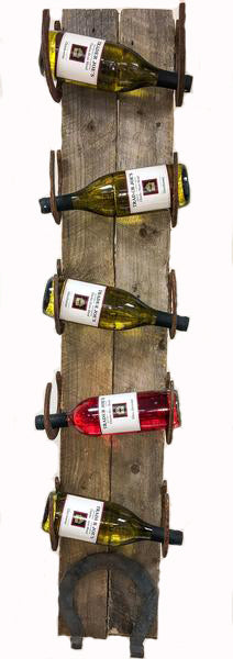 Horseshoe Barnwood Wall Wine Rack - 5 Bottle
