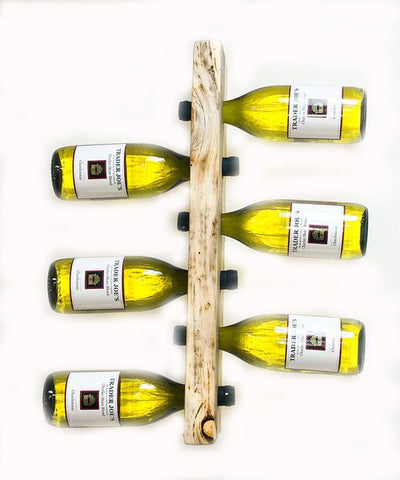 6 Bottle Beetle Kill LodgePole Pine, Wall Mounted Wine Rack by CrookedWood