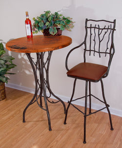 "40"" rustic custom iron branch bar table"