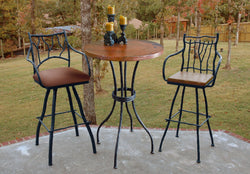 rustic iron bar table with custom top