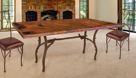 Custom iron copper top rectangle dining table