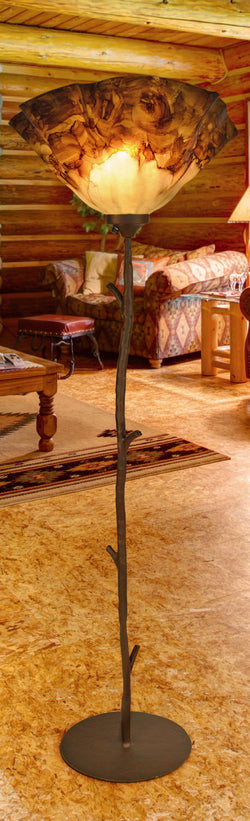 rustic custom iron and glass branch floor lamp