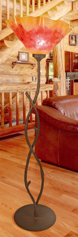 rustic custom iron and glass floor lamp