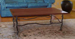 rustic iron coffee table with custom top