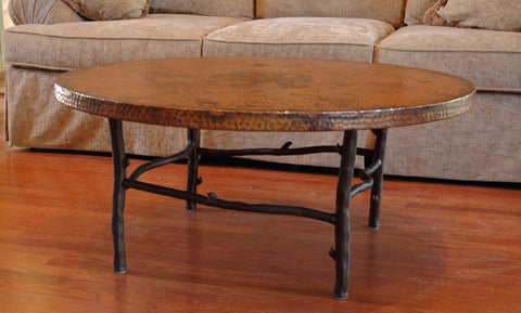 "42"" rustic custom iron coffee table"
