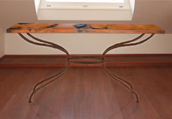 rustic iron console table with custom top